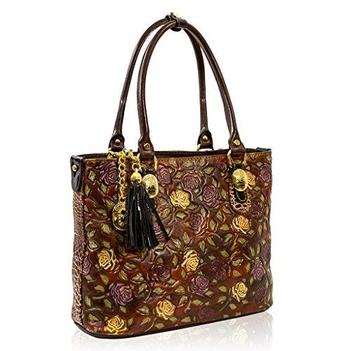 Marino Orlandi Italian Designer Handpainted Brown Roses Leather Large Tote Bag