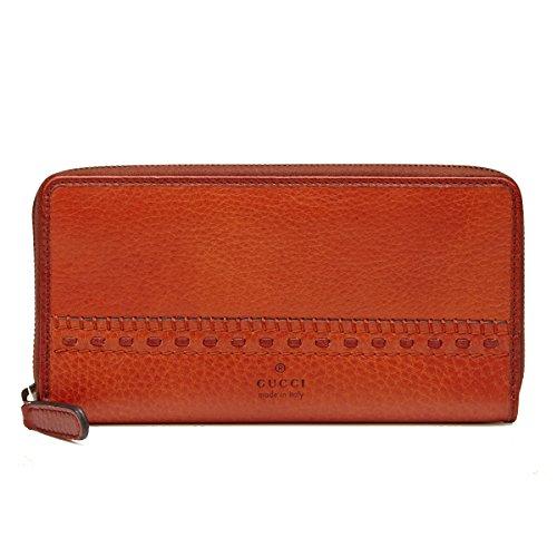 Gucci Laidback Crafty Leather Zip Around Wallet Burnt Orange 338580 A208T