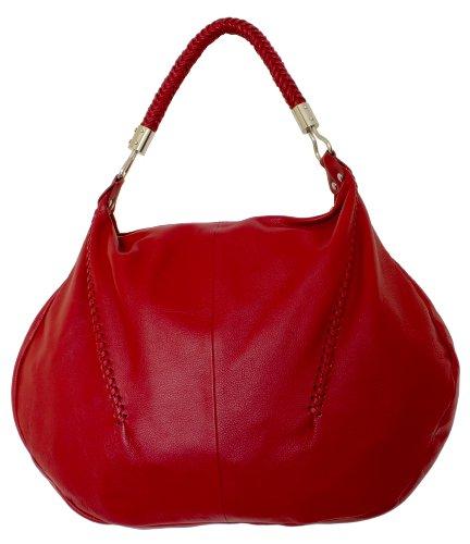 Cirella Women Designer Genuine Leather Red Large Hobo Handbag Shoulder Bag