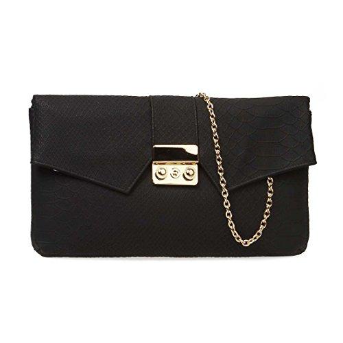 BMC Womens PU Leather Faux Snakeskin Textured Envelope Flap Fashion Clutch