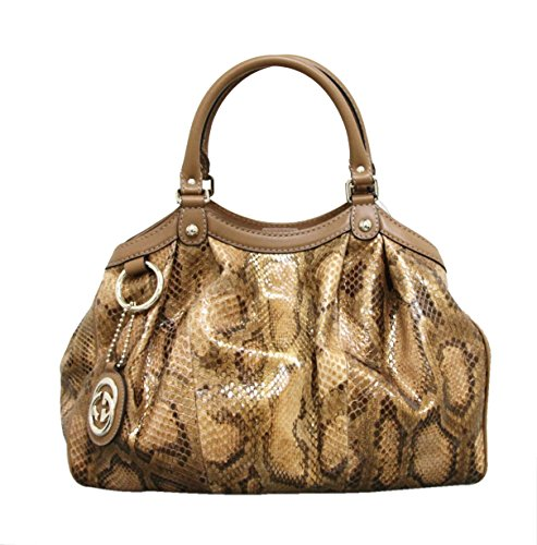 Gucci Gold and Brown Sukey Python Medium Tote Handbag