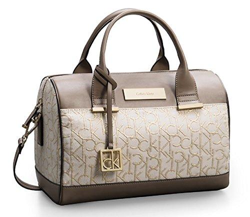 Calvin Klein Candice Lurex Sleek Barrel Satchel Bag Handbag (Stonebeige)