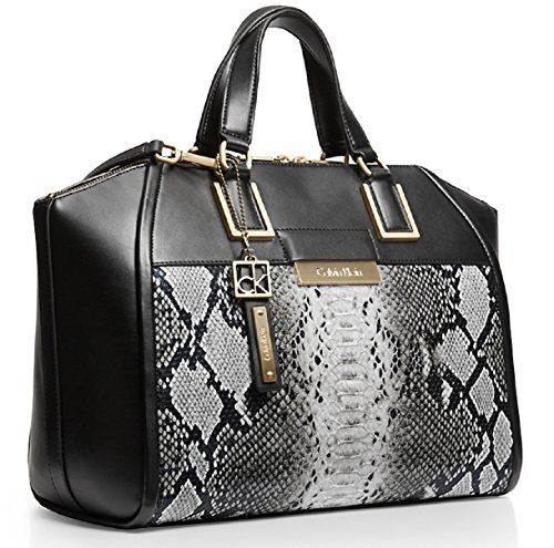 Calvin Klein Valerie Textured Snake Dome Satchel Bag Handbag (Snow)