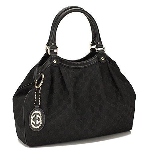 Gucci Black Leather and Canvas Gg Logo Medium Sukey Handbag 211944 Fafxg