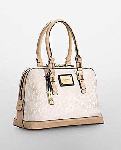 Calvin Klein Logo Jacquard Print Dome Satchel Purse Handbag Sandstone