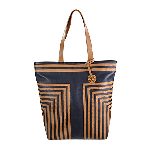 Tory Burch North South Tote in Tory Navy & Aged Vachetta Leather
