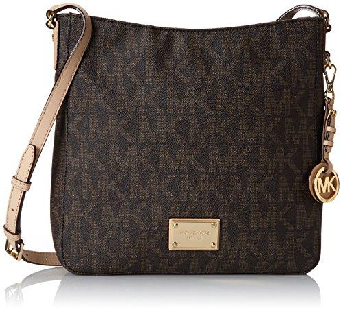Michael Kors Women's Jet Set Signature Messenger Bag Handbag Brown