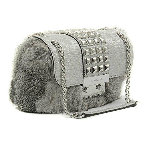 Michael Kors Silver Flurry Stud REAL FUR Rabbit Bag Handbag Purse Shoulder Flap