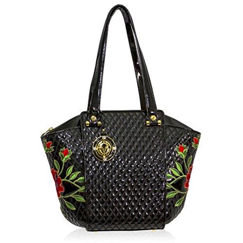 Valentino Orlandi Italian Designer Black Quilted Leather Tote Bag W/roses