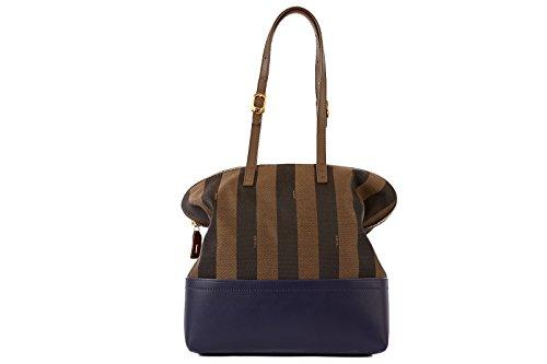 Fendi women's cotton shoulder bag shopping in Nylon pequin brown