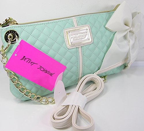 Betsey Johnson Purse Cross Body Bag Quilted Mint Spring Chain Shoulder Strap