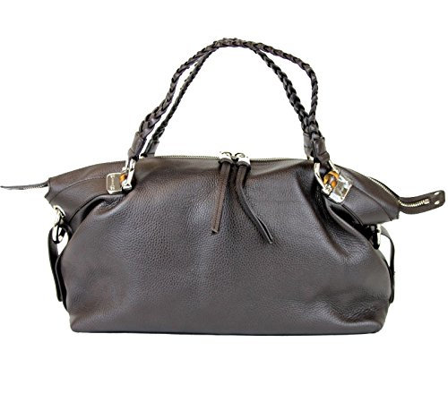 Gucci Brown Leather Bamboo Bar Tote Shoulder Bag 336657 2038