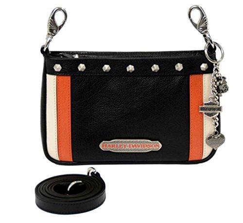 Harley-Davidson Women's Color Block Hip Bag – Black, Org & Cream CB6363L-MLT