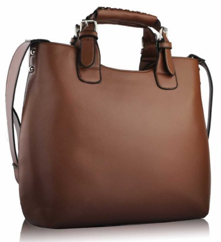 Womens Brown Large Tote Shoulder Bag Ladies Faux Leather Designer Handbag KCMODE