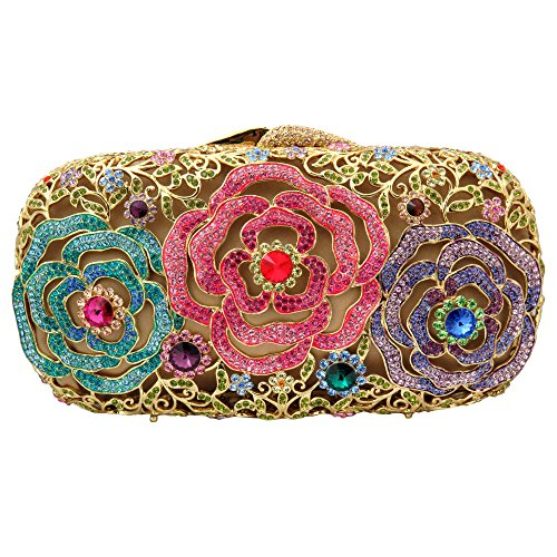 Clutch with Swarovski Element Crystals Colored Floral Roses