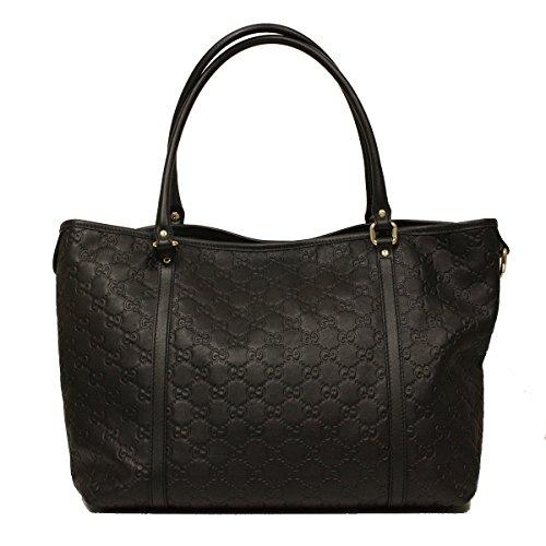 Gucci Black Guccissima Leather GG Logo Tote Bag 265695 BNJ1G