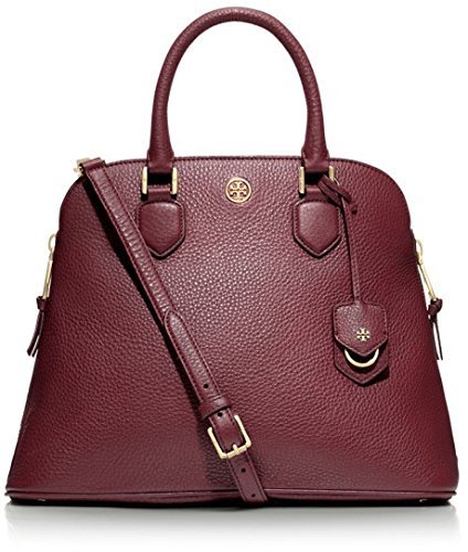Tory Burch Robinson Open Dome Pebbled Satchel Deep Berry Burgundy New