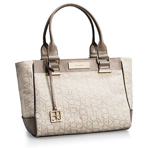 Calvin Klein Candice Lurex Logo Jacquard Shopper Tote Bag Handbag Purse (Stone Beige)