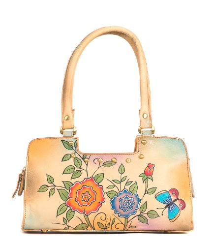 Zimbelmann – Womens Baguette Top – Handle Bag – made of genuine Nappa Leather – multicoloured handpainted – Jasmin