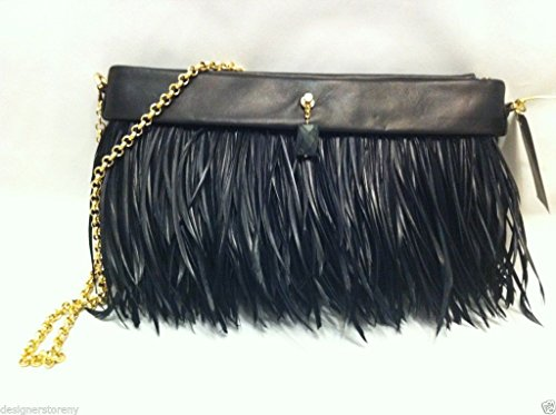 Michelle Monroe Christina Black Leather & Goose Feathers Clutch Bag