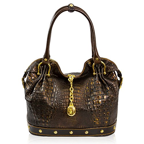 Marino Orlandi Italian Designer Bronze Alligator Leather Large Slouchy Bag