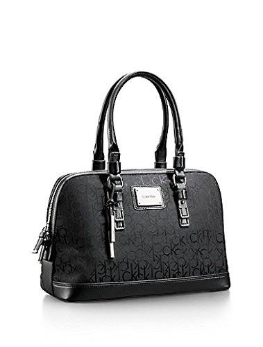 Calvin Klein Logo Jacquard Print Dome Satchel Purse Handbag Black