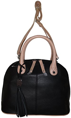 Tignanello Women's Pebble Leather Mini Dome Handbag, Black/Light Vachetta