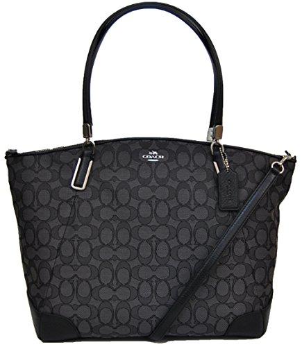 COACH Outline Signature Kelsey Satchel Shoulder Bag Handbag Black Smoke 36220