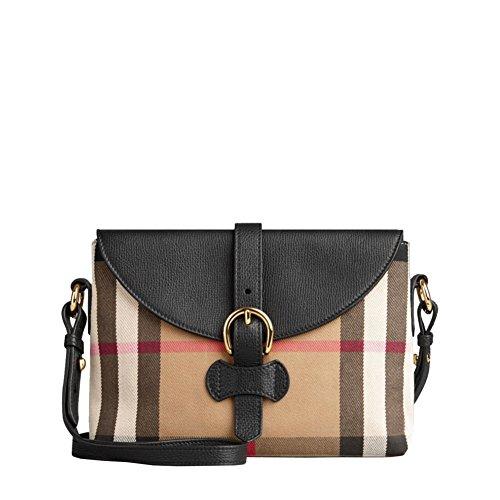Burberry Woman's Black Milton Housecheck Horseshoe Leather Crossbody Handbag