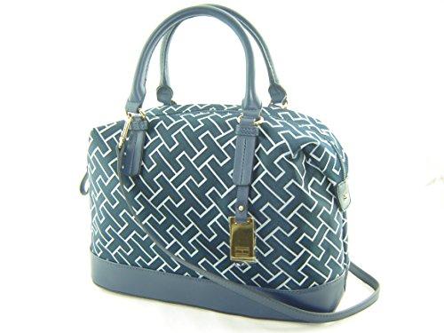 Tommy Hilfiger Bowler Satchel Handbag Navy Blue Multi