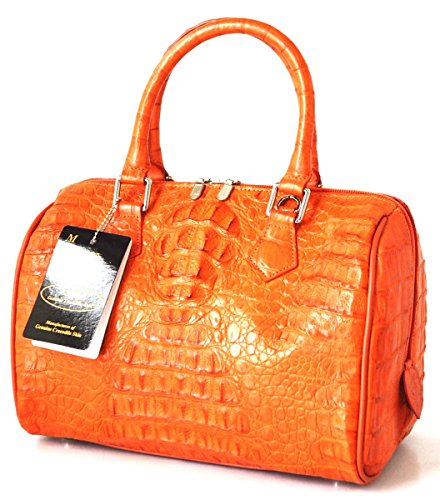 +ThaiPremiumHouse+100% HORNBACK GENUINE CROCODILE LEATHER HANDBAG CLUTCH BAG PURSE ORANGE NEW W/Strap