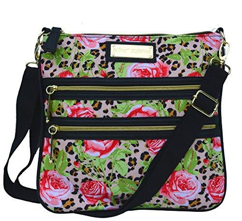 Betsey Johnson 2 Zip Crossbody Handbag Cheetah Roses Multi