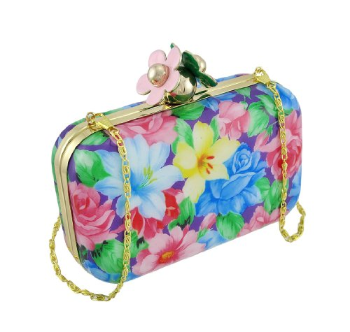 Formal Floral Pint Clutch Purse with Flower Shaped Clasp