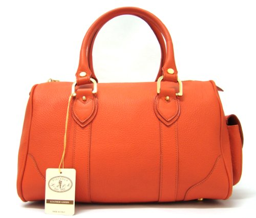 L.A.P.A. Italian Made Orange Calfskin Leather Bowling-style Designer Handbag