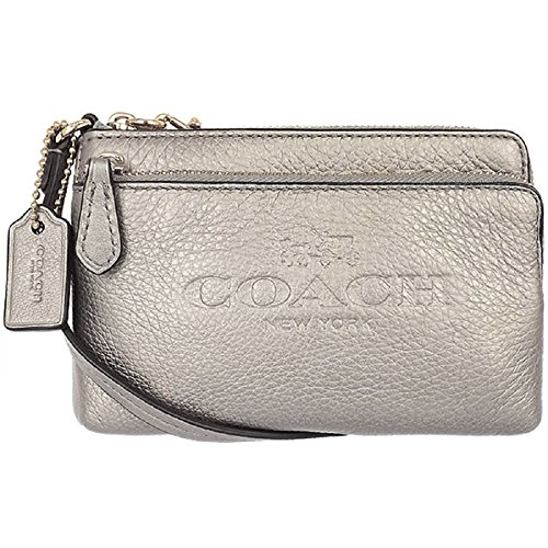 Coach Pebbled Leather Double Corner Zip Small Wristlet 52556 Metallic Silver