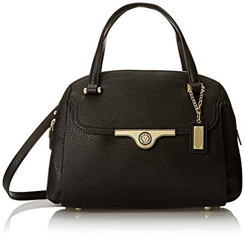 Anne Klein Lady Lock Satchel Top Handle Bag, Black, One Size