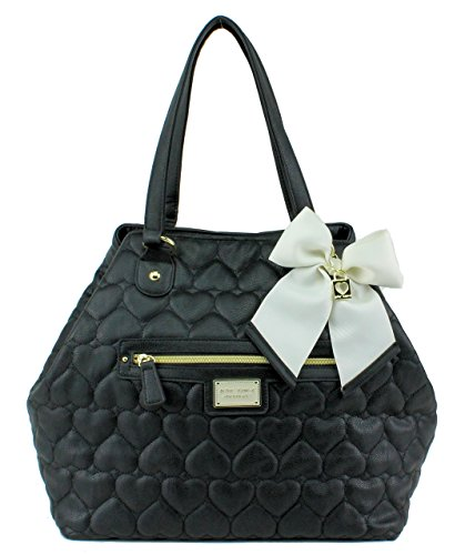 Betsey Johnson Diamond Quilt Convertible Tote Purse Bag Handbag Black