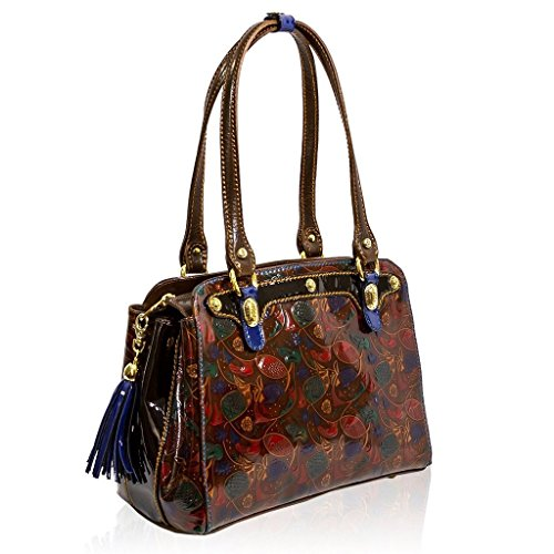 Marino Orlandi Italian Designer PICASSO Fresco Painted Brown Leather Purse Tote Bag