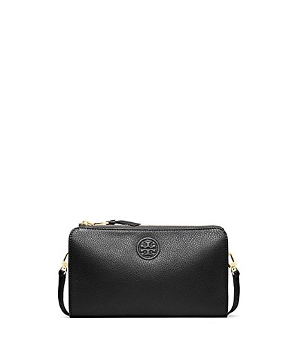 Tory Burch Marion Wallet Crossbody Black Leather Gold Bag New
