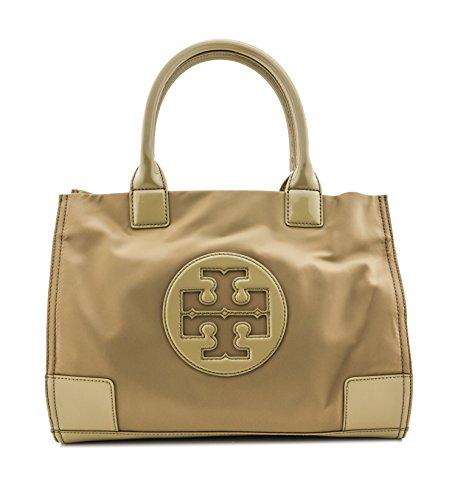 Tory Burch Tote Nylon METALLIC Mini Ella in MUSK Beige TB Logo Handbag