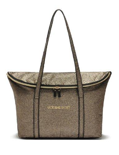 Victoria's Secret Women's Gold Shimmer Glamour Tote Bag