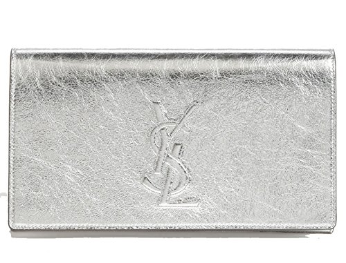 Yves Saint Laurent Ysl Belle De Jour Large Silver Mirror Metallic Clutch Bag 361120