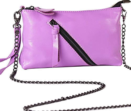 Heshe Genuine Leather Purse Cross Body Shoulder Bag Clutch Handbag with Golden Chain