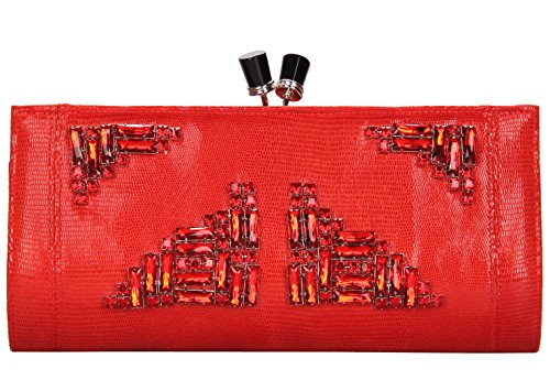 Grace Angel Women's Rhinestone Studded Wedding Clutch Bag Evening Handbag GA14236B Red
