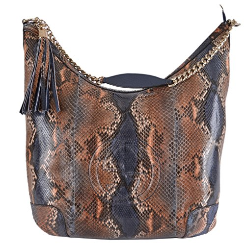 Gucci Women's Python Snake GG Soho Zip Top Hobo Handbag