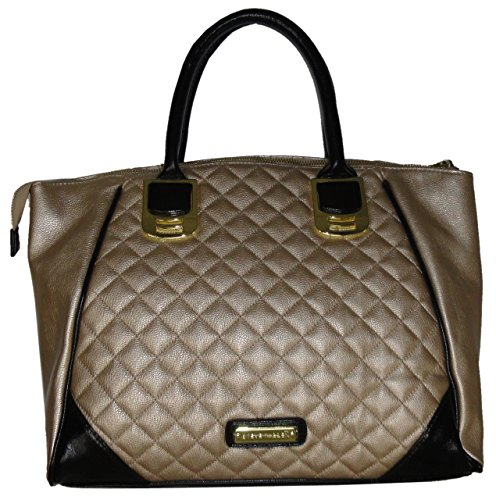 Steve Madden Women's Large Tote Handbag, (Gold/Black)
