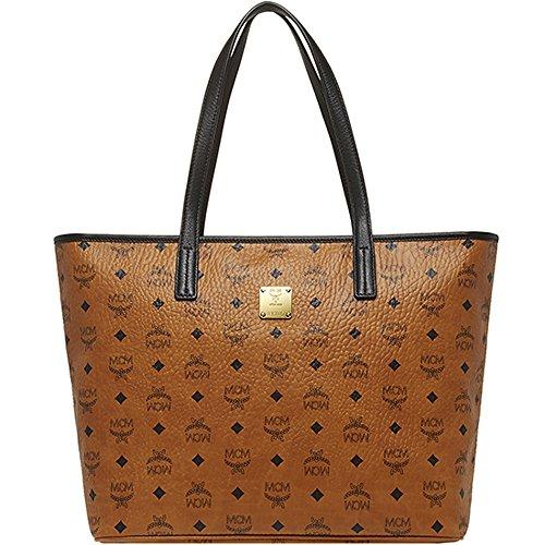 2014 AW MCM COLOR VISETOS Medium Size Shopper Bag Cognac Color MUP4AVC09CO
