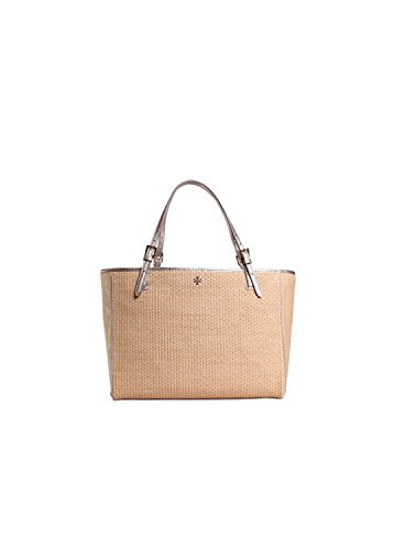 Tory Burch York Straw Small Buckle Tote in Natural/Gold