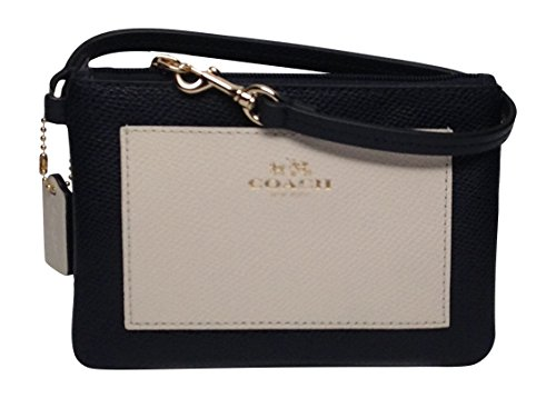 Coach Crossgrain Leather Small Wristlet Midnight(navy) & Chalk 53142