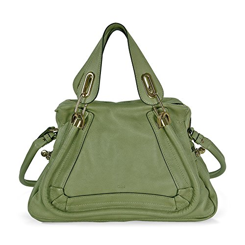 Chloe Paraty Medium Double Satchel Carry Bag – Baobab Green